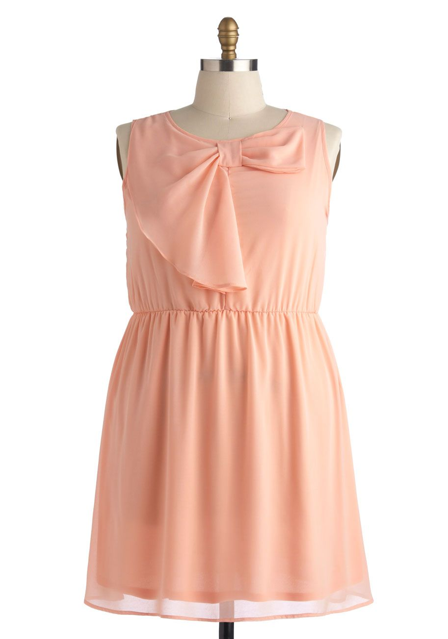 383a451868d346 Fancy and Free Dress in Plus Size. This peach dress sees that you enjoy a  lighthearted attitude while looking charming!  pink  modcloth