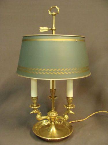 Vintage Antique French Bronze Brass Ormolu Empire Style Bouillotte Lamp 6949 Lamp Green Decor Candelabra Bulbs