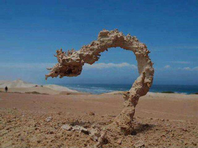 Sand after being hit by lightning.