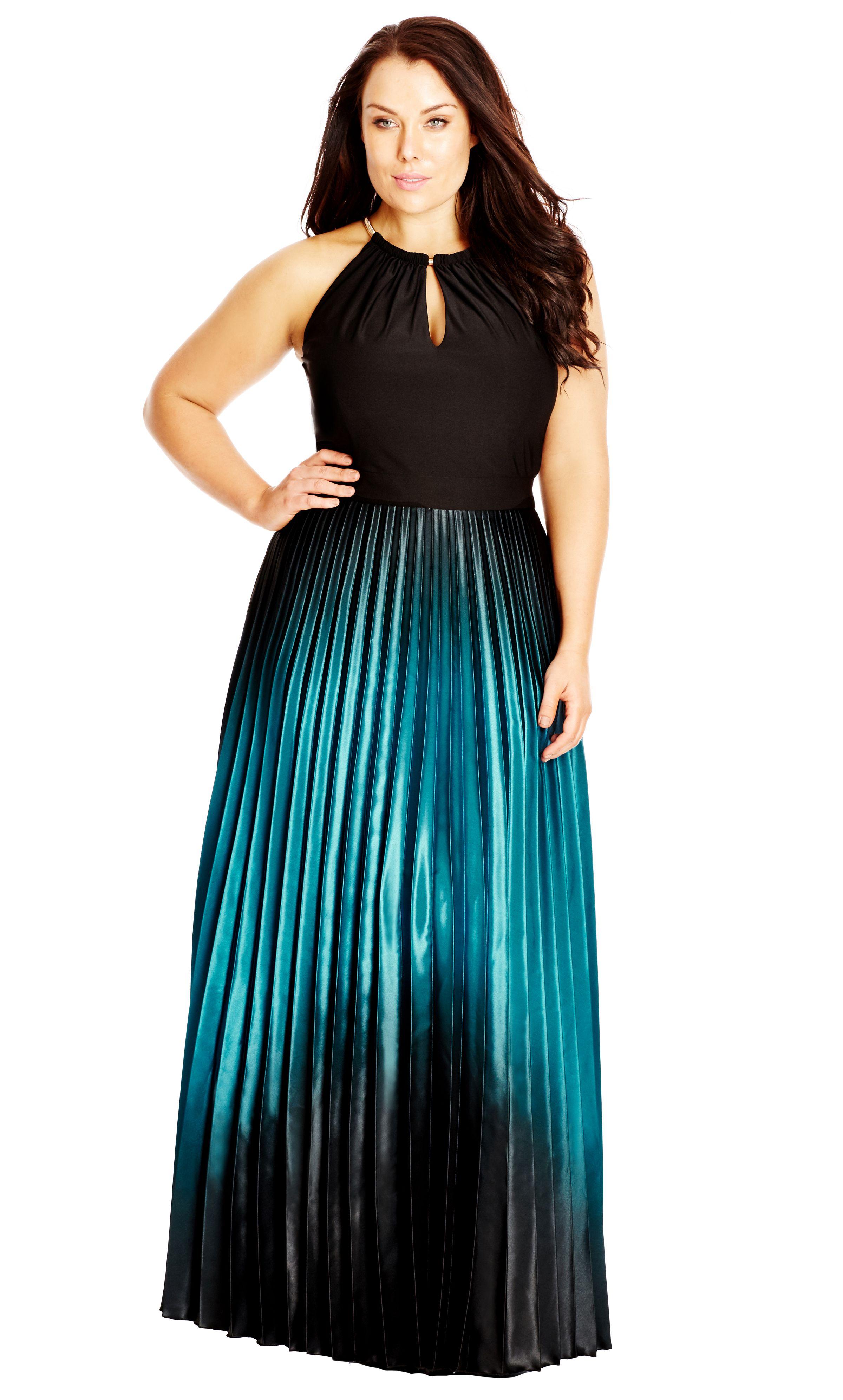 City chic pleated ombre maxi dress womenus plus size fashion