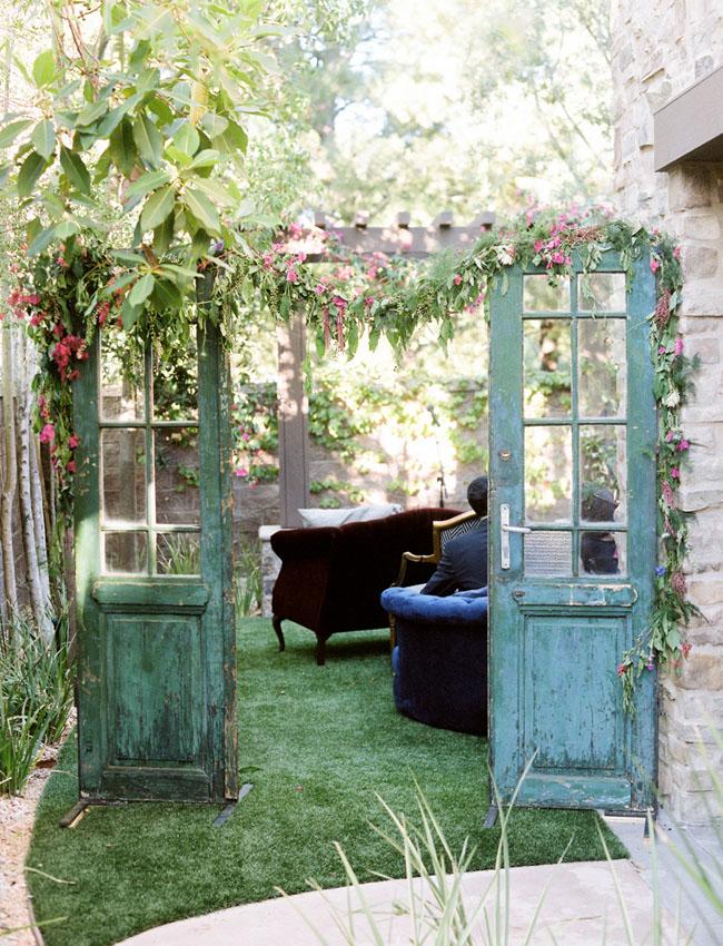 Stylish Backyard Vow Renewal Tina Brian Old Doors Old Garden