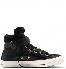 586919b54 Converse černé kožené dámské boty Brea s kožíškem | Converse na ...
