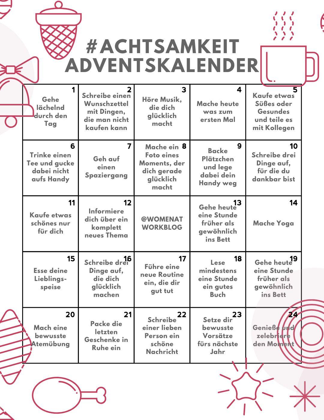 Achtsamkeit Adventskalender 24 Tage Fur Mehr Selbstfursorge In Der Vorweihnachtszeit Women At Work Adventkalender Adventskalender Weihnachtskalender