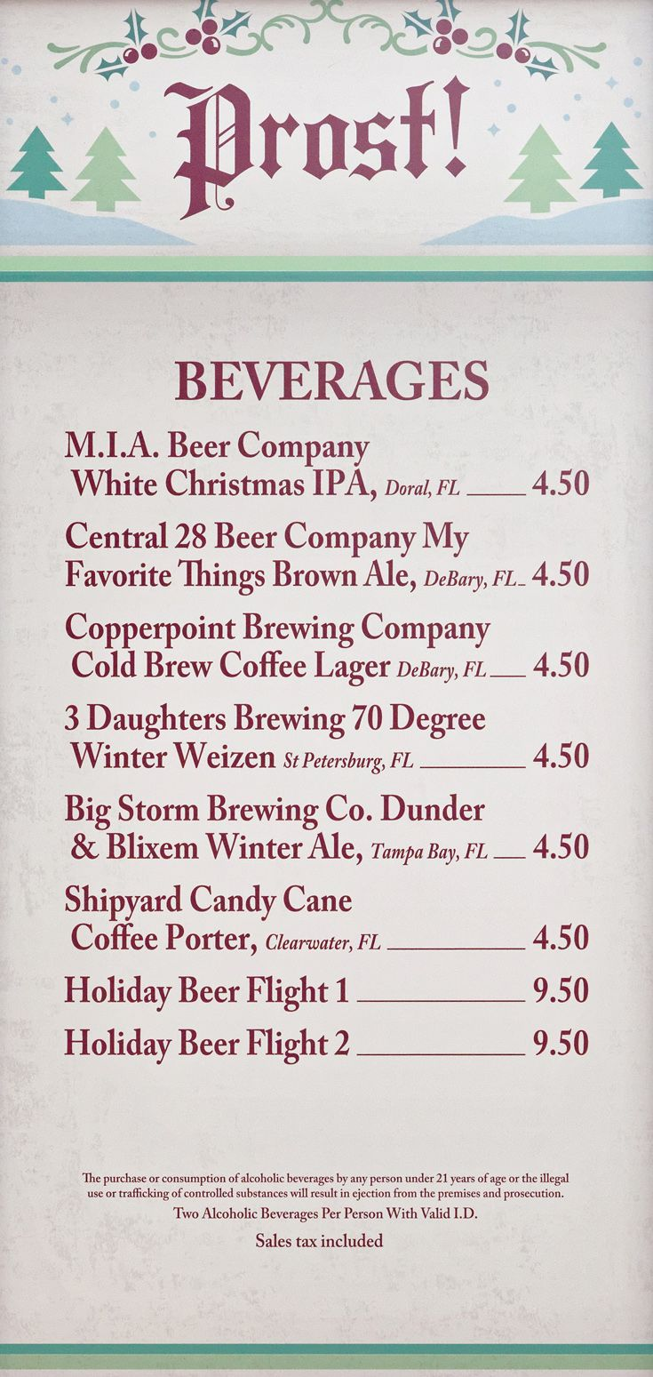 Holiday Kitchen menu board for 2018. Prost! Beer company