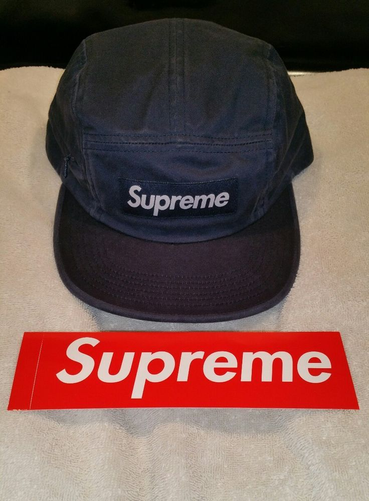e326a077b04550 Supreme Box Logo Side Zip Navy Blue 5 panel camp hat w/classic Box Logo  sticker #Supreme #5Panel
