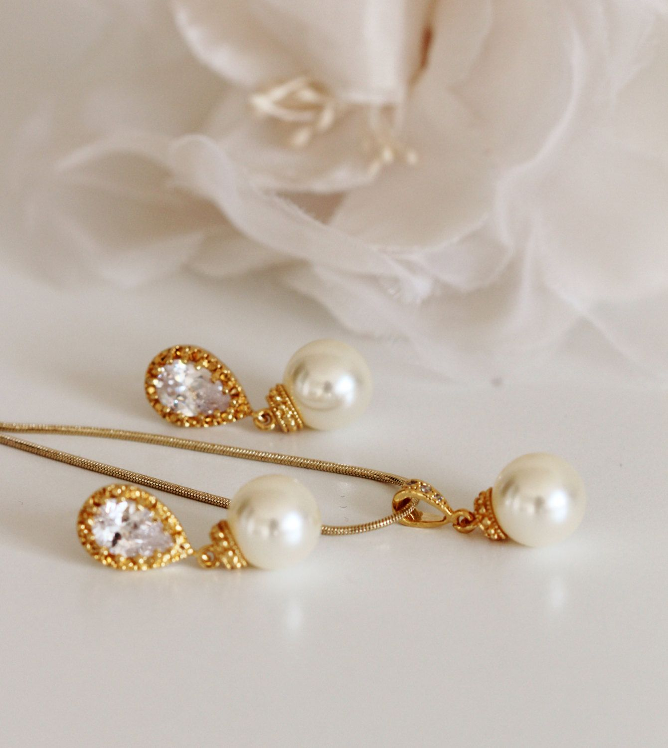 Gold Bridal Jewelry Set Pearl Wedding Gift Ideas Bridesmaid Mother Of The