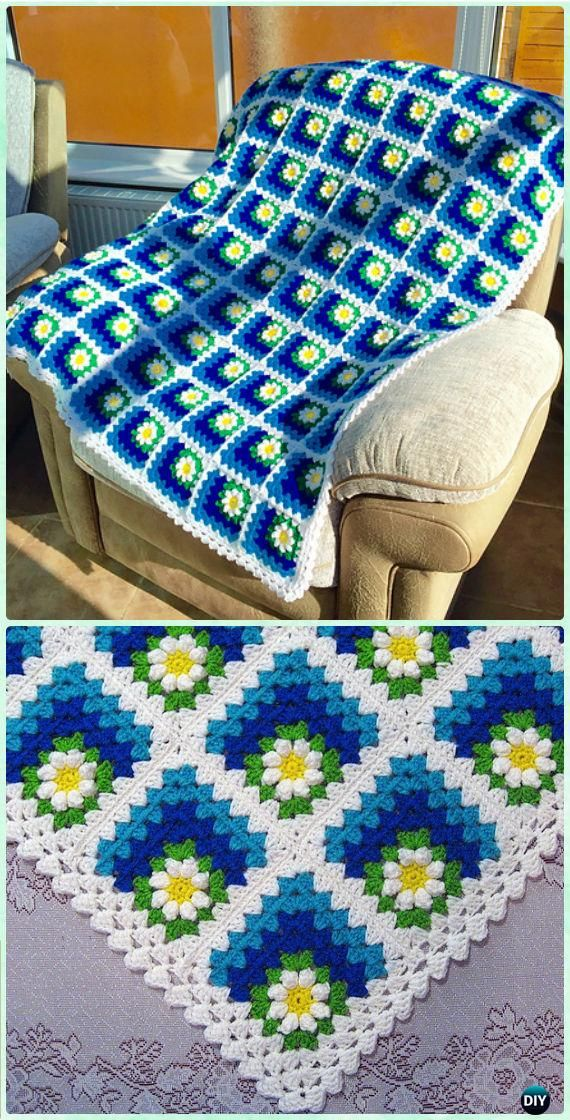 Crochet Mitered Summer Daisy Baby Afghan Pattern-Crochet Mitered ...