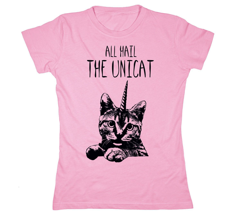 All Hail The Unicat Unicorn Funny Womens T Shirt T Shirts For Women Cat Lady Tee Shirts