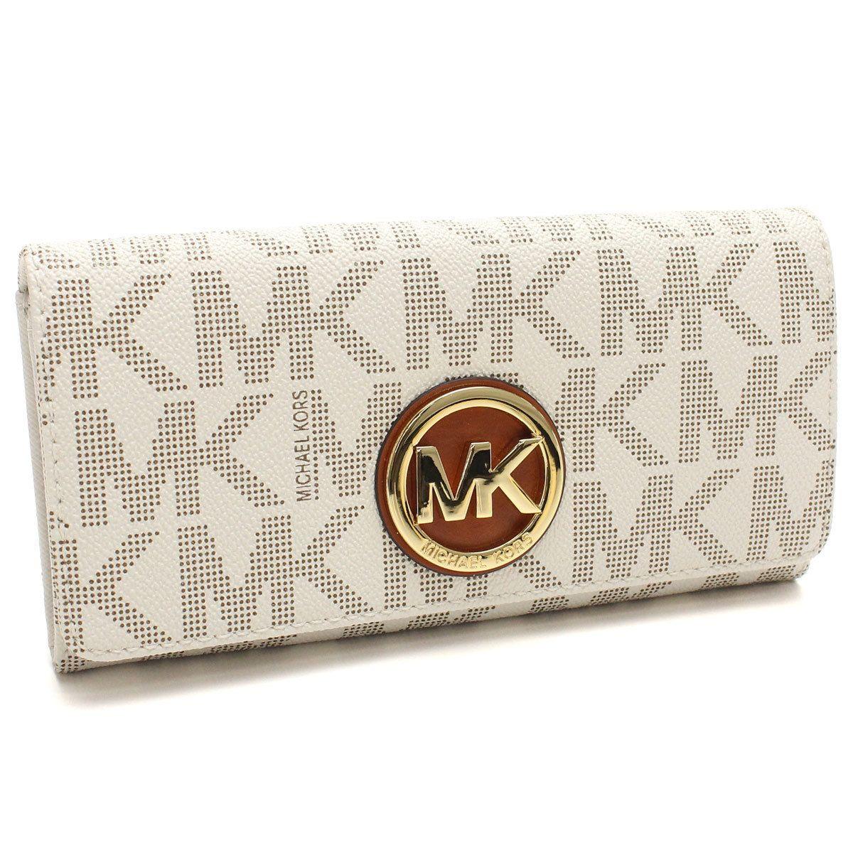b27df74533fd Michael Kors Fulton Vanilla Logo Gold Carryall Wallet