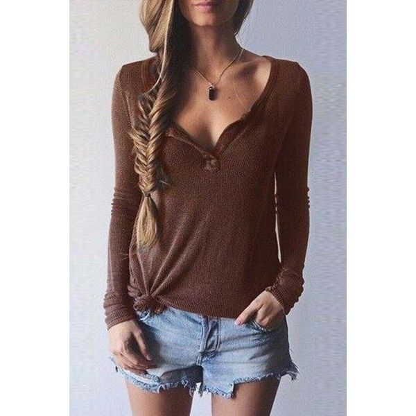Coffee V Neck Long Sleeve Chic Pullover Sweater ($17) ❤ liked on Polyvore featuring tops, sweaters, coffee, v neck sweater, brown sweater, v-neck pullover sweater, cotton v-neck sweater and cotton sweaters