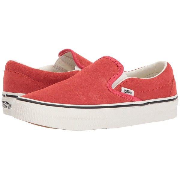 d713eed448 Vans Classic Slip-Ontm ((Suede) Hibiscus True White) Skate Shoes ...
