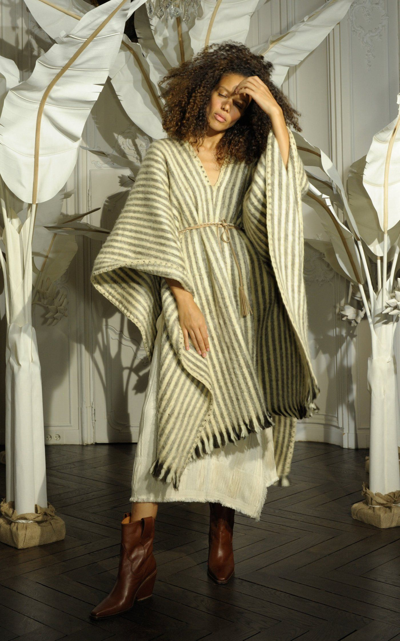 Abrazame A Besos Striped Wool Poncho