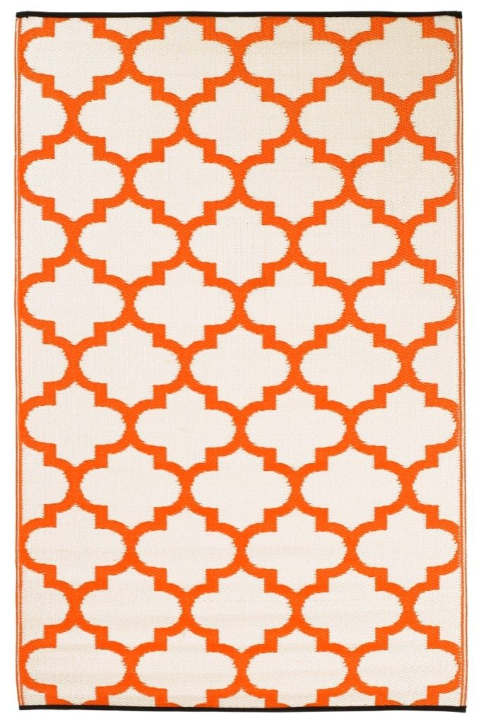 This beautifully crafted GEO ORANGE INDOOR/OUTDOOR rug will add a splash of moroccan style and color to your home. They are made from tightly woven premium recycled polypropylene straws, offering strength, sustainability and softness underfoot.  The colors in our Indoor/Outdoor Rugs are UV stabilized, minimising deterioration and fading from exposure to the sun, making them a perfect addition to your outdoor area.    These plastic rugs are not only kind to the environment and hip pocket…