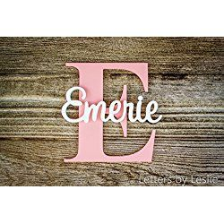 Nursery Name Sign Capital Letter Baby Plaque Personalized Wall Hanging Wooden