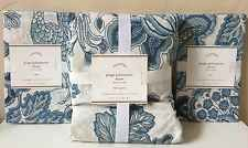 POTTERY BARN PAIGE PALAMPORE FULL/QUEEN DUVET COVER + EURO SHAMS NEW BLUE FLORAL