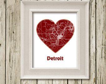 I Love DETROIT Heart Colored City Map Print Printable Instant Download Poster Home Decor  Wall Decor C072bordeaux