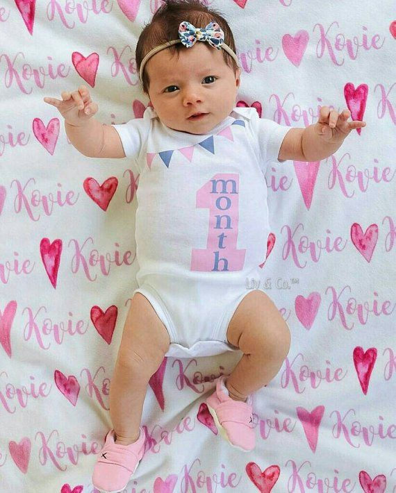 2f2df17f7a20 Baby Girl One Month Milestone Outfit, 1 Month Old, Baby Girl Clothes, Baby  Clothes Girl, Newborn Clo