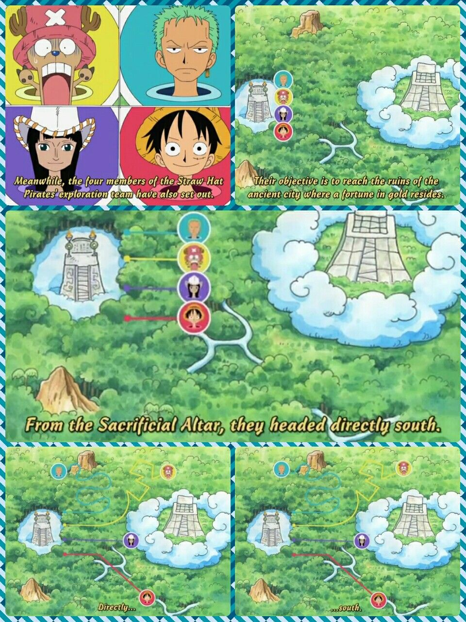 Chopper robin zoro luffy sacrificial altar skypiea text quote comic funny lost map one piece photo collages