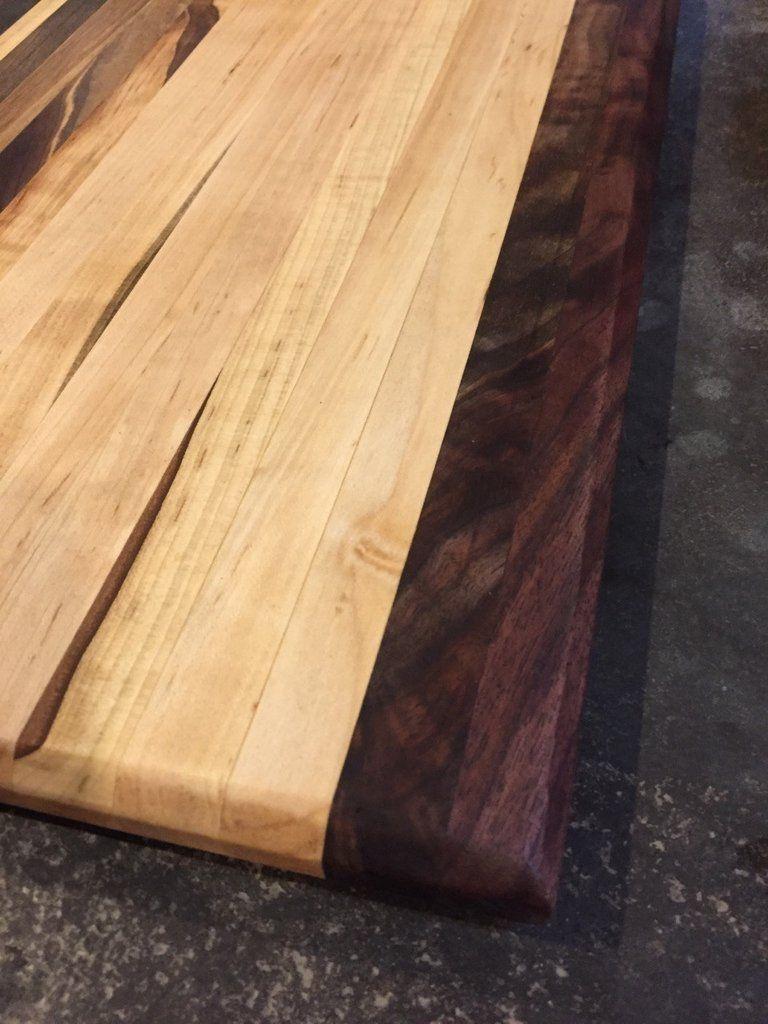 Cutting Board End Grain Black Walnut Ambrosia Maple Mix 18