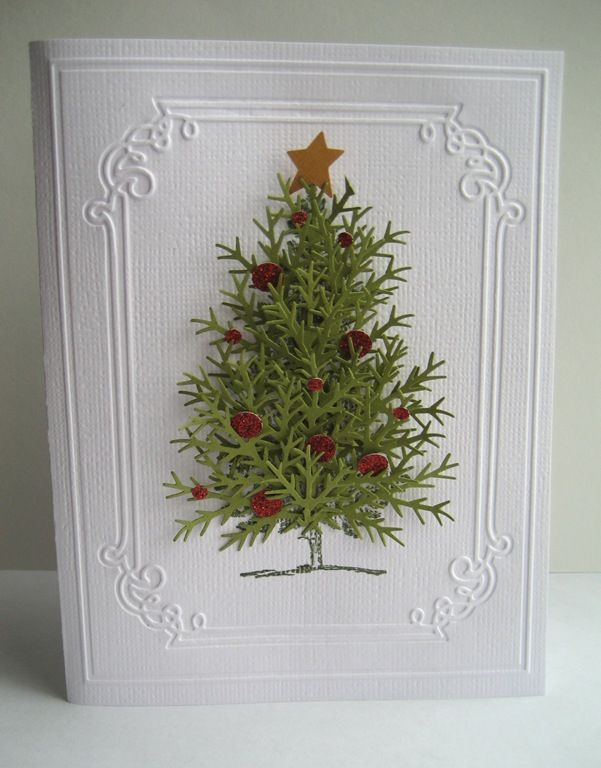 old-fashioned christmas tree using snowflake punch? cards