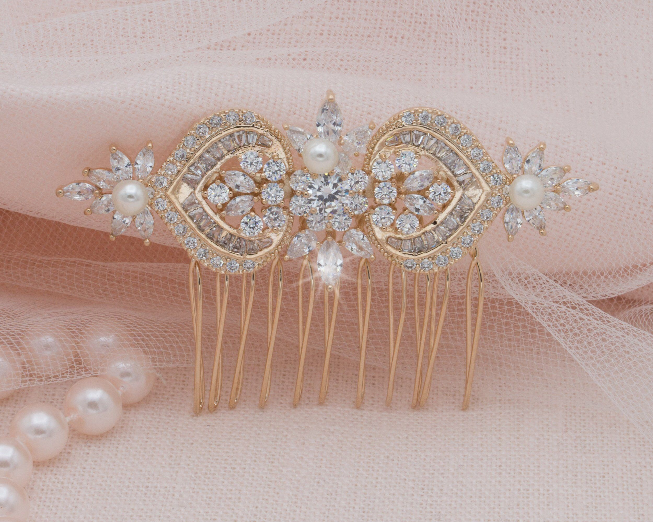 Rose gold hair comb crystal pearl head piece bride hair accessory