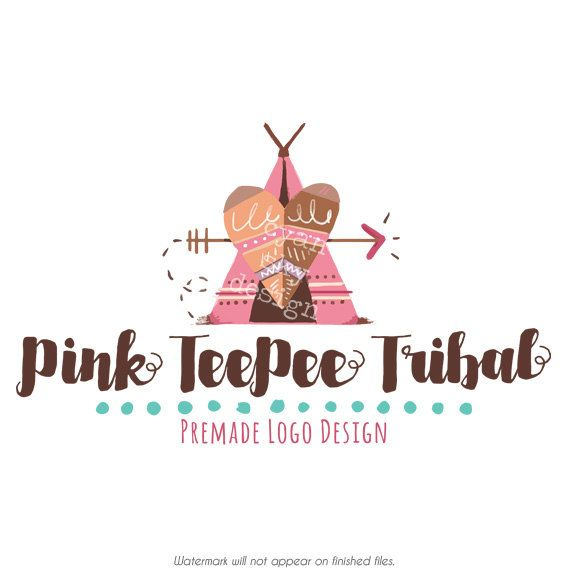 Pink Teepee Tribal Branding Logo Premade Design Made To Match Etsy Shop Graphics