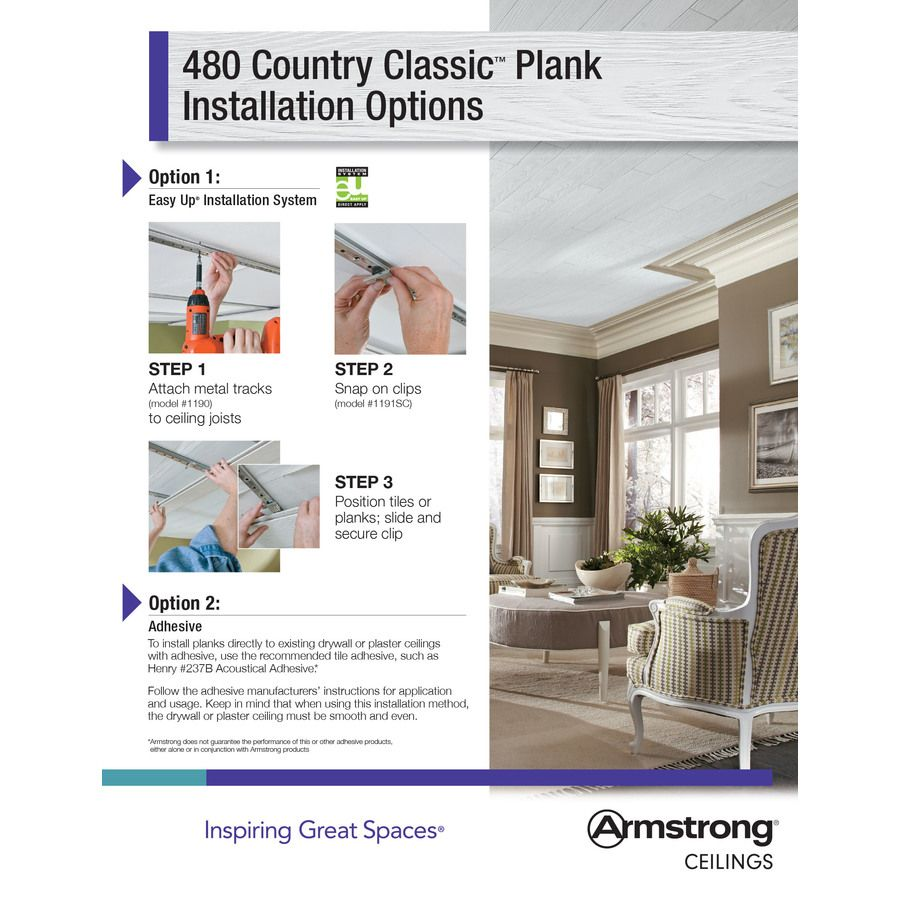 Armstrong Ceilings Common 48 In X 6 In Actual 48 672 In X 6 682 In Country Classic Plank 20 Pack White Faux Wood Armstrong Ceiling Plank Ceiling Faux Wood