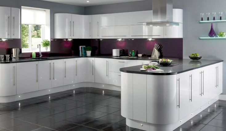 White cabinets with contrast cozinhas pinterest for White high gloss kitchen wall units