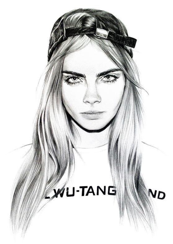 Cara Delevingne illustration  winter  Pinterest  Cara