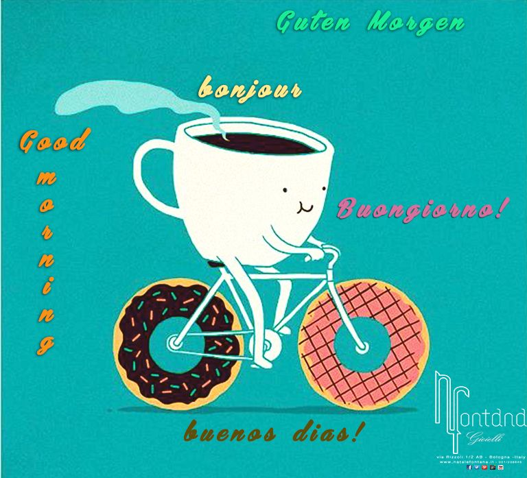 Buongiorno Lingue Tazza Da Caffè In Bici Buongiorno Caffè Logo