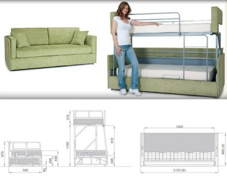 Fantastisch Space Saving Sleepers: Sofas Convert To Bunk Beds In Seconds .