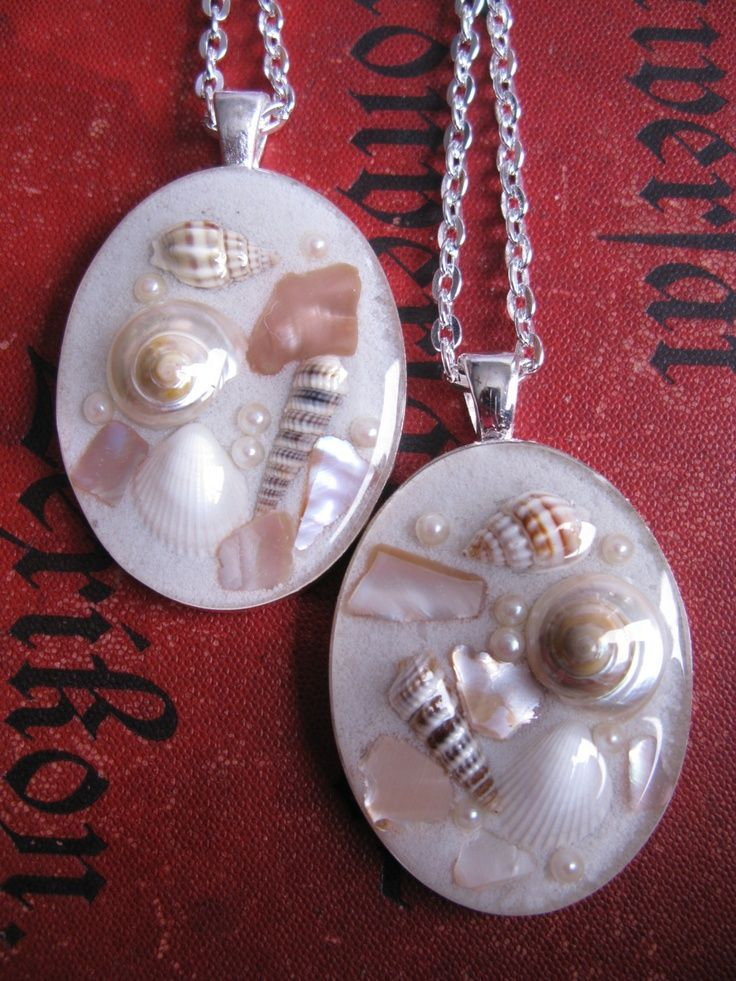 Beach Pendant - Sand, shells, and faux pearls in resin - Real Shell necklace - Beach Necklace - Nautical necklace - Resin pendant. $10.00, via Etsy.
