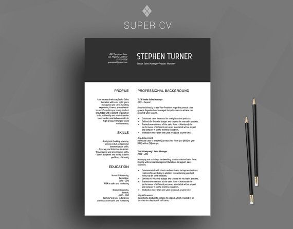 professional resume template    cv template   cover letter   reference list