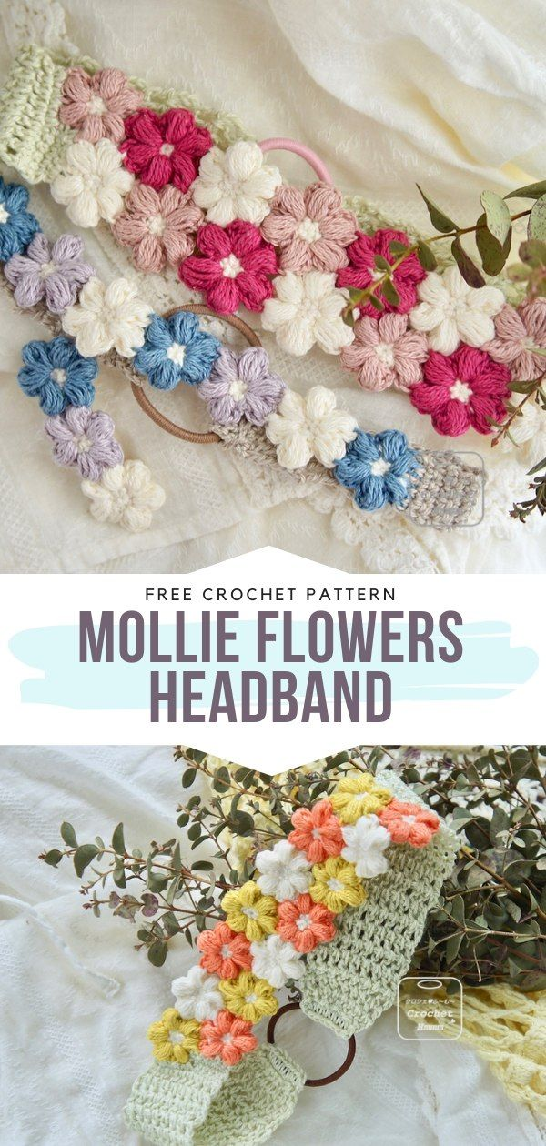 How to Crochet Mollie Flowers Headband