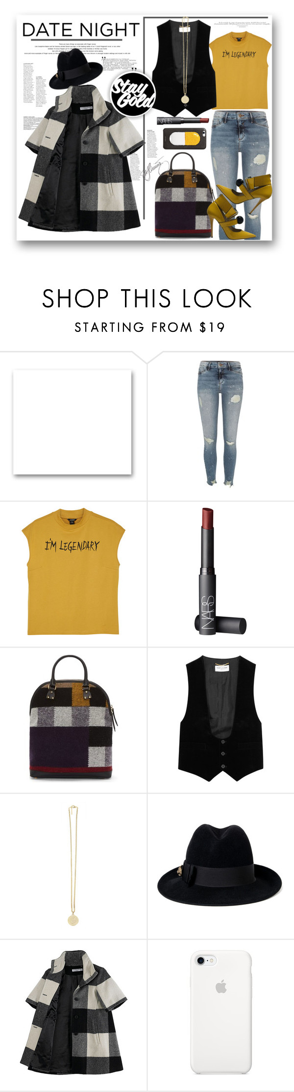 """""""date night legend"""" by mercimasada ❤ liked on Polyvore featuring St. John, River Island, Monki, NARS Cosmetics, Burberry, Yves Saint Laurent, Givenchy, Gucci, Opening Ceremony and OKA"""
