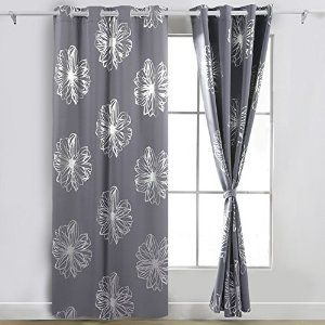 Deconovo Fashion Light Grey Flower Foil Printed Thermal Insulated Bedroom Grommet Blackout Curtains 52 W