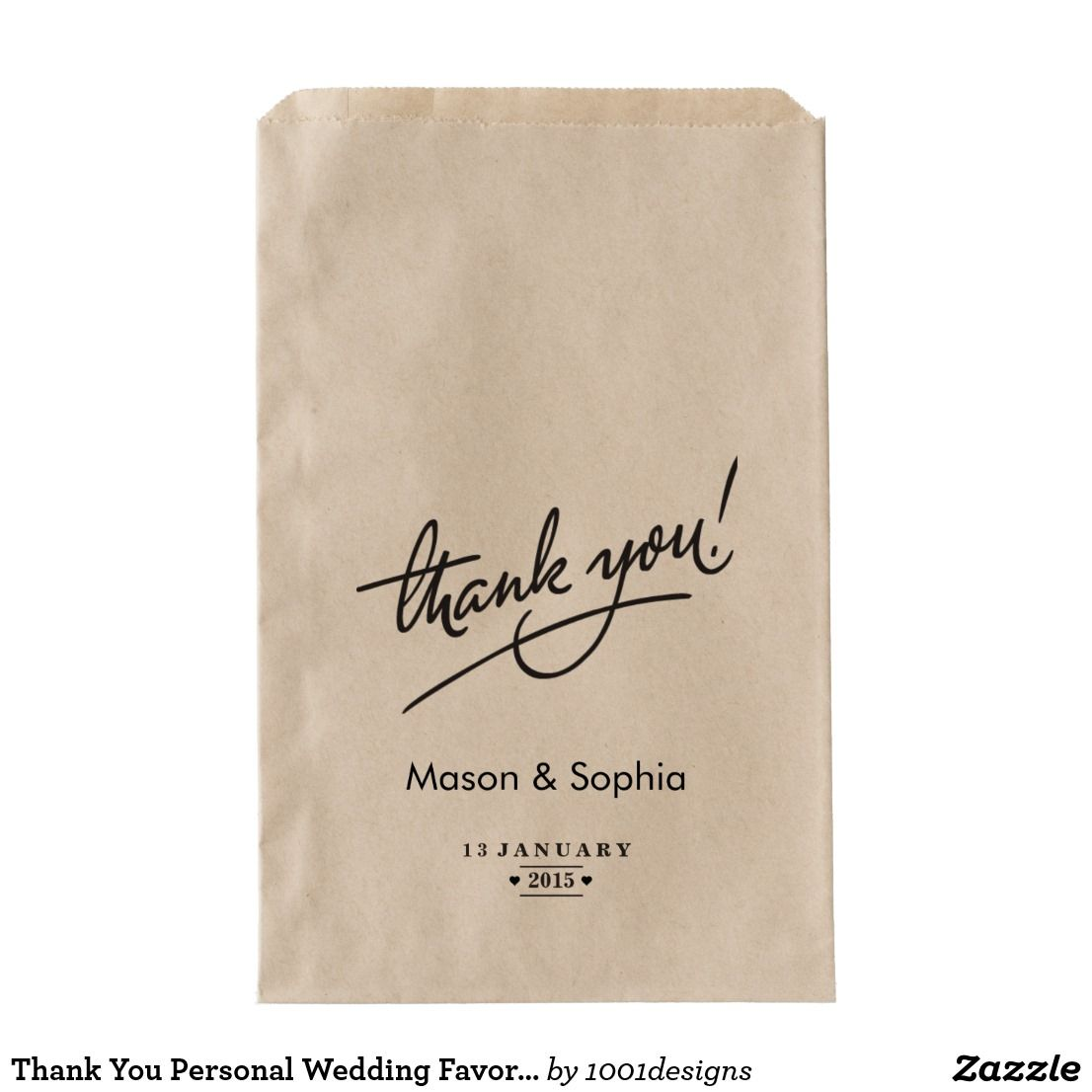 Thank You Personal Wedding Favor Bag | Favor bags, Wedding favor ...