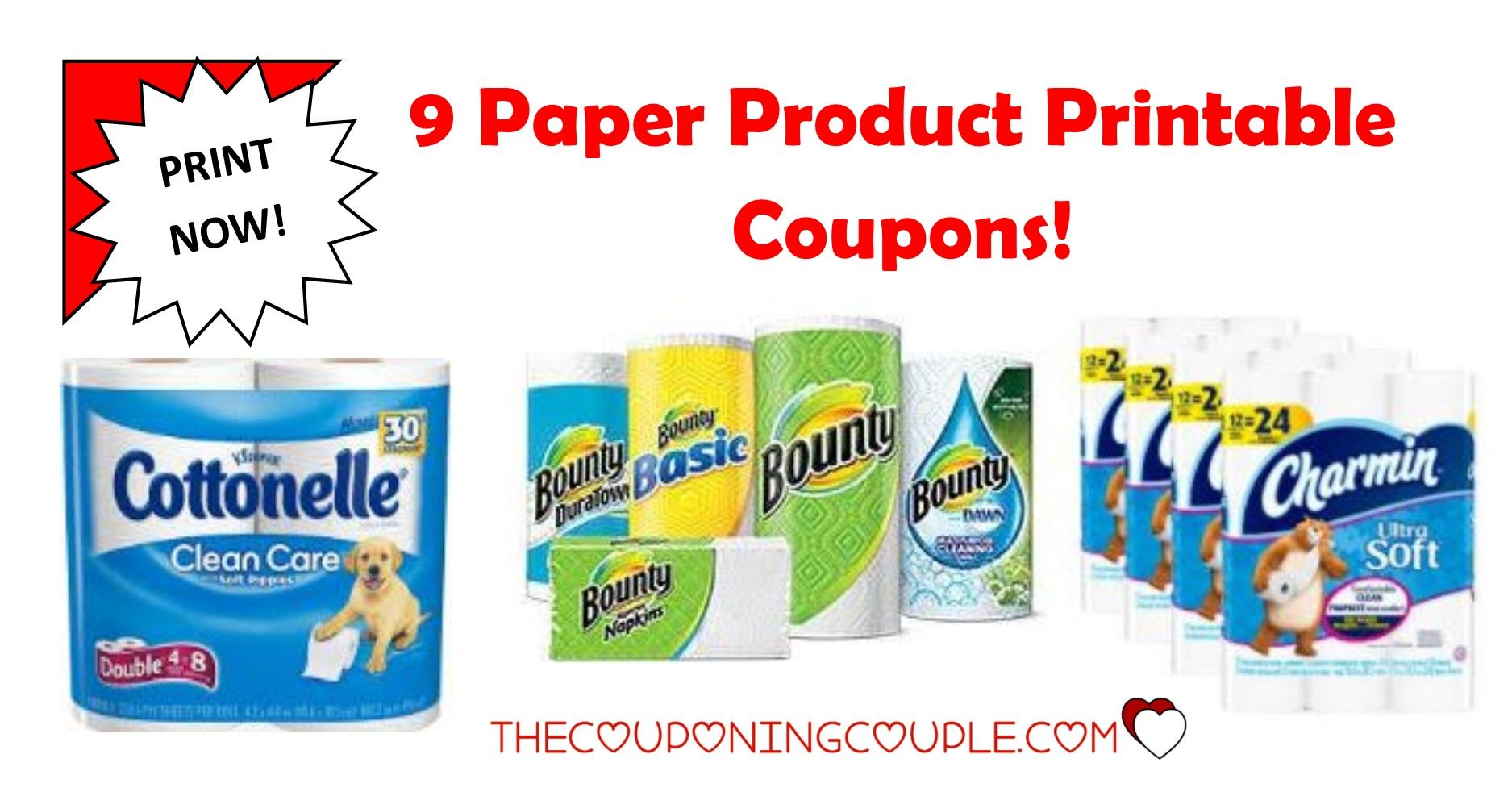 13 paper product printable coupons ~ bounty, charmin & more