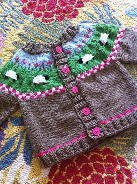 Sheep Knitting A Sweater : Sheep yoke baby cardigan pattern by jennifer little knit