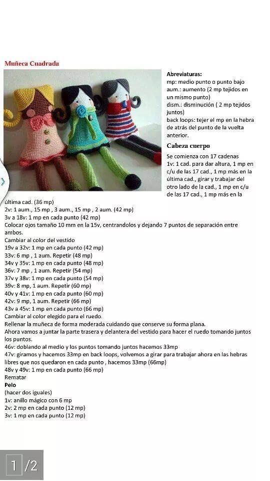 Muñecas cuadradas amigurumi | Muñecas, Patrones y Patrones amigurumi