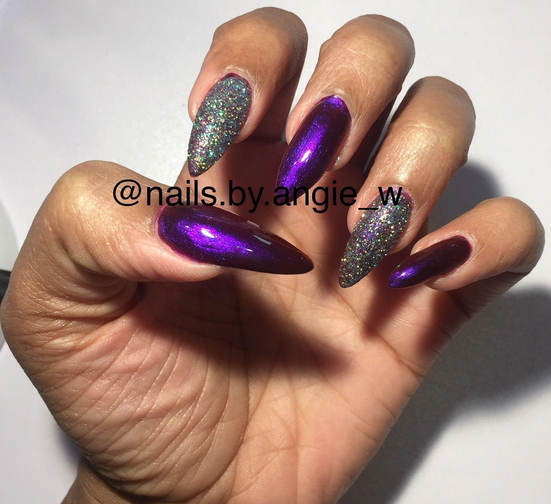 Gel full set. Sculpture nails. No tips. Stiletto nails. Chrome ...