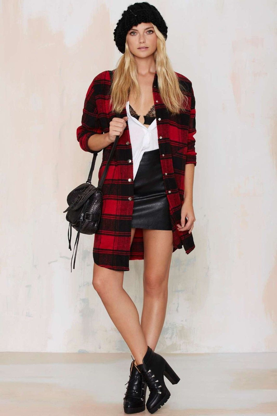 Red plaid flannel jacket  Women Classic Red Plaid Checks Long Sleeve Bodycon Shirt Tops Blouse