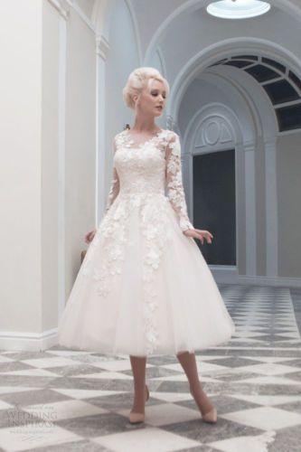 Vestido de novia longitud de té vintage nuevo Hermoso blanco/marfil ...