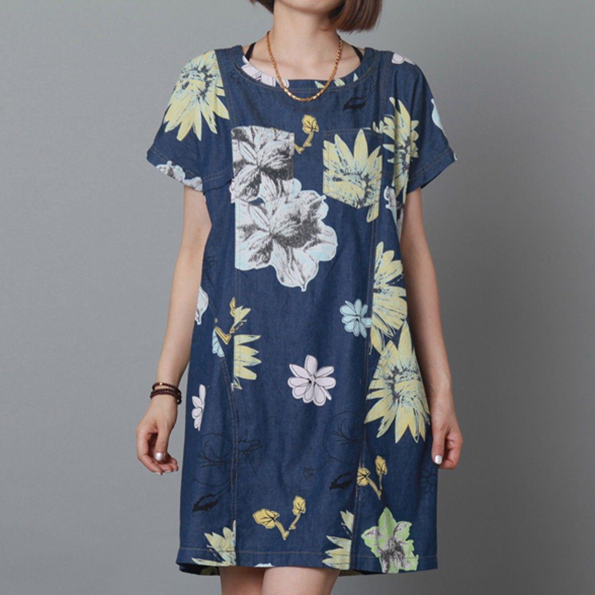 f27a47b75a Pure cotton navy floral sundress oversize shift dress summer maternity dress
