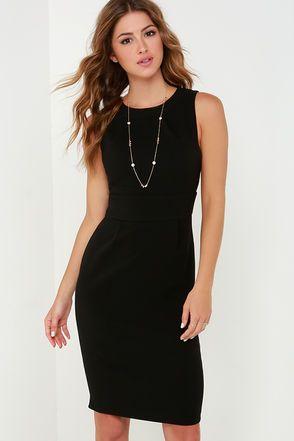 50d5d3c2b839 Perfectly Punctual Black Midi Dress   LBD   Black midi dress ...
