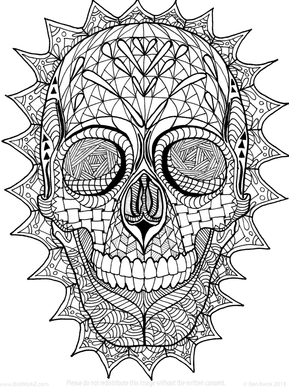 Sugar Skull Zentangle Coloring Page By Inspirationbyvicki