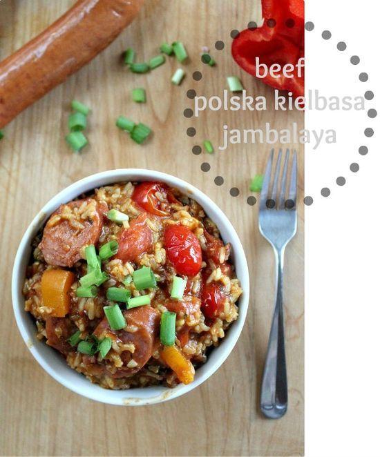 Beef Polska Kielbasa Jambalaya Tonya Staab Polska Kielbasa Beef Recipes Beef Dinner