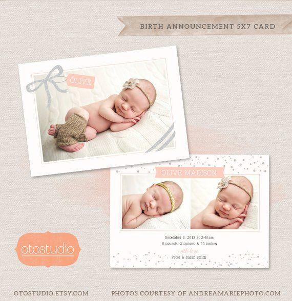 birth announcement template 5 x 7 card glitter ribbon cb008 psd