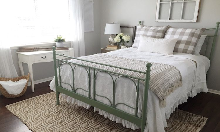 Our Guest Room Got A Makeover This Week And The Biggest Change Was The Ikea Noresund Bed That I Spray Pa Home Decor Bedding Home Decor Bedroom Bed Linen Design