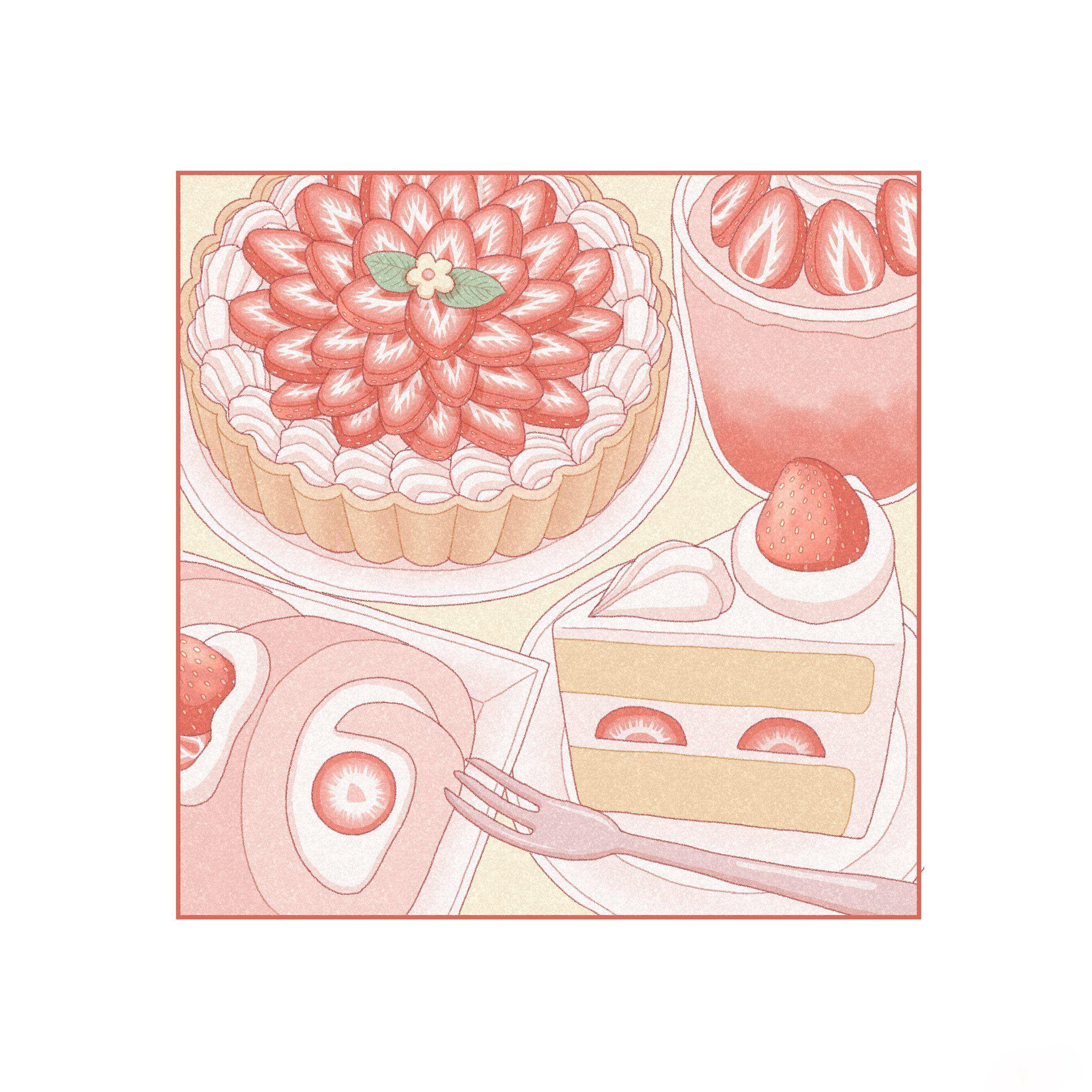 Anime wallpaper kawaii food